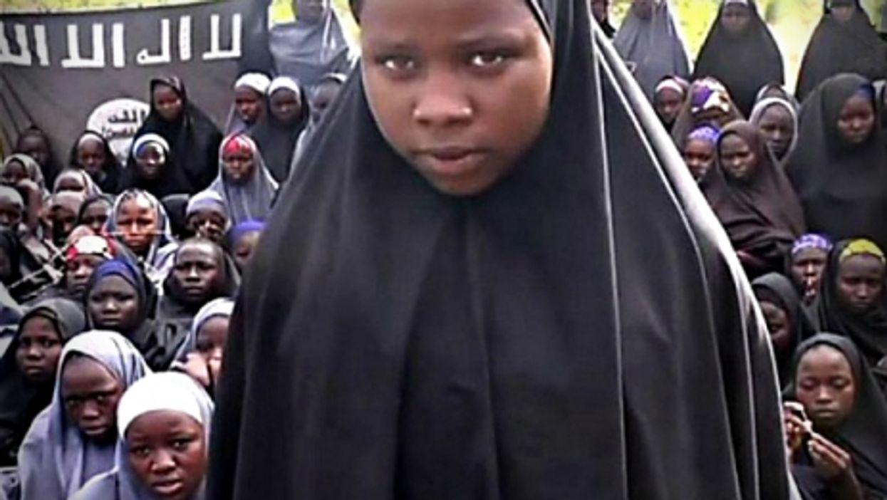"""Screenshot of a Boko Haram video showing the """"Chibok girls"""" kidnapped in April 2014"""