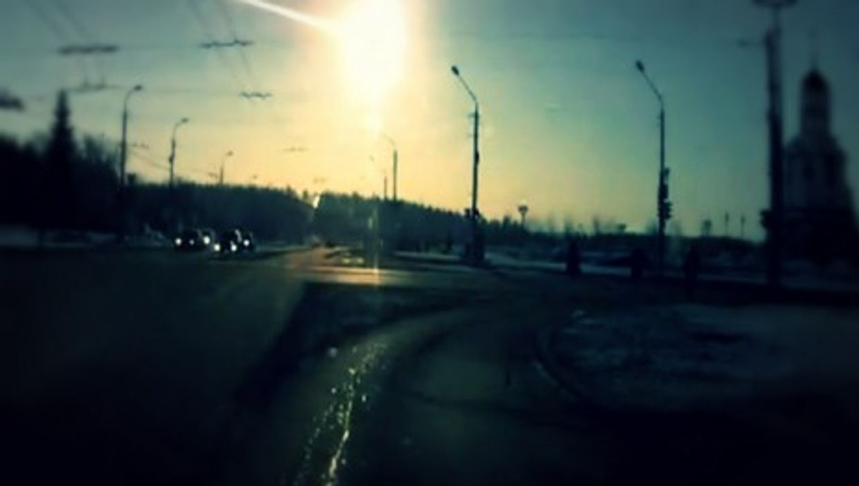 Screenshot of a dashboard cam video of the Feb. 15, 2013 meteor shower in Russia