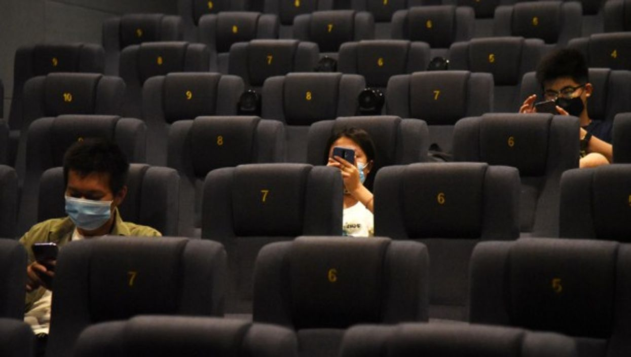 Seat distancing applied at a movie theater in Jinan