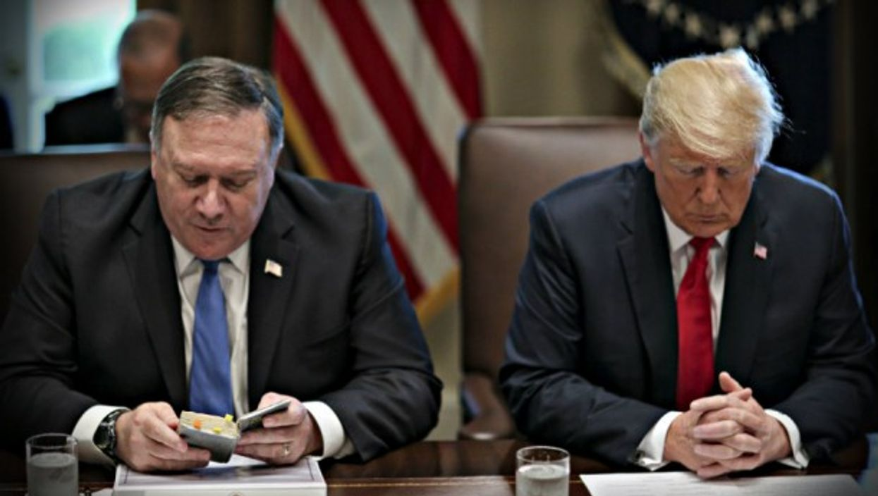 Sec. of State Mike Pompeo reads a prayer at the White House