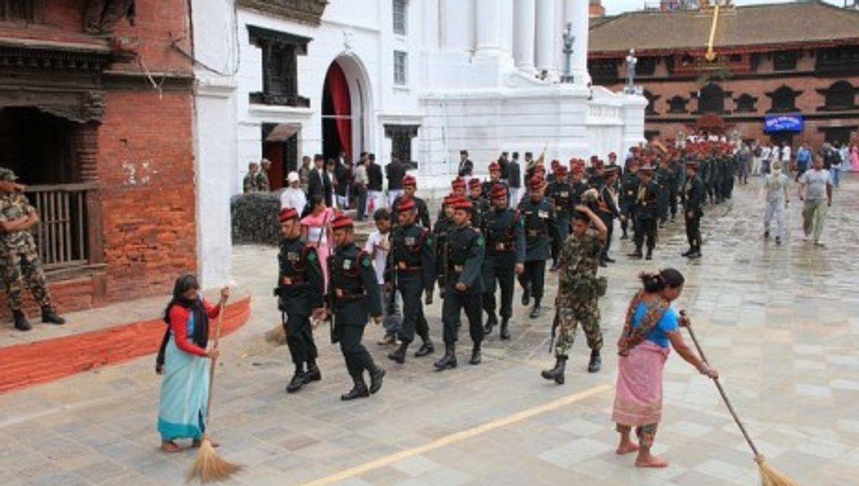 Security forces in Katmandu, Nepal (Annie Green Springs)