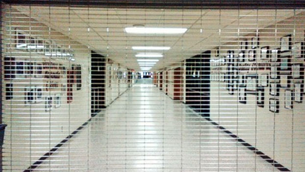Security gate at a high school in Michigan