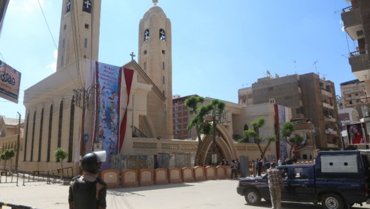 Security guards at a Coptic Church in Tanta, Egypt