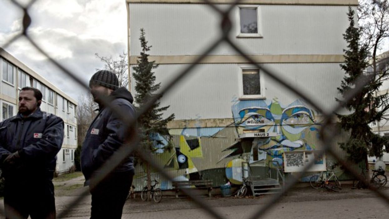 Security staff at a Berlin refugee center on Jan. 4
