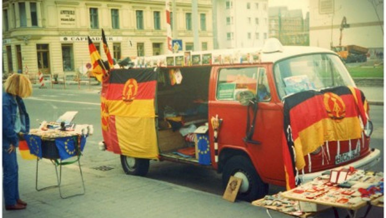 Selling all things GDR near Berlin's Checkpoint Charlie