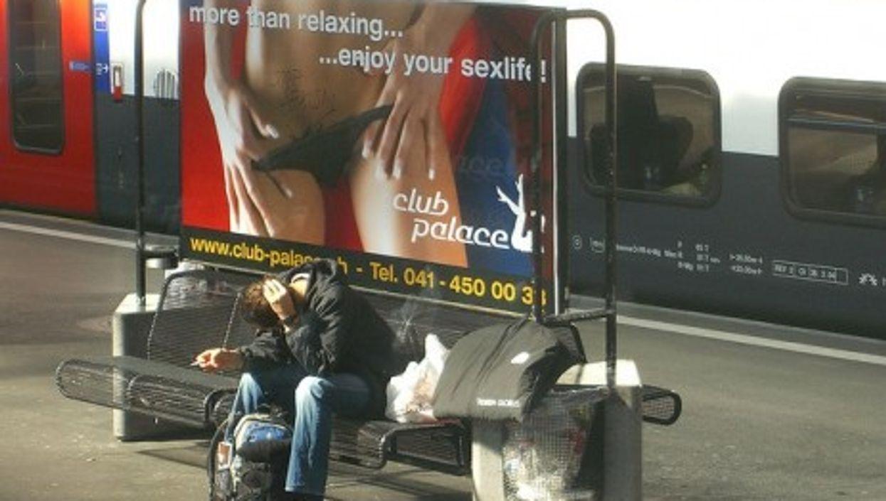 Sex advertisement in a Zurich train station