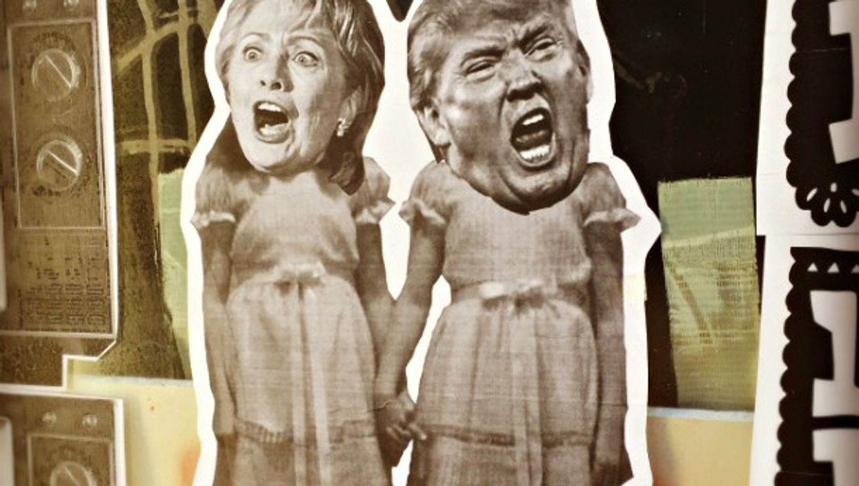SF street art showing Clinton and Trump as The Shining's twins