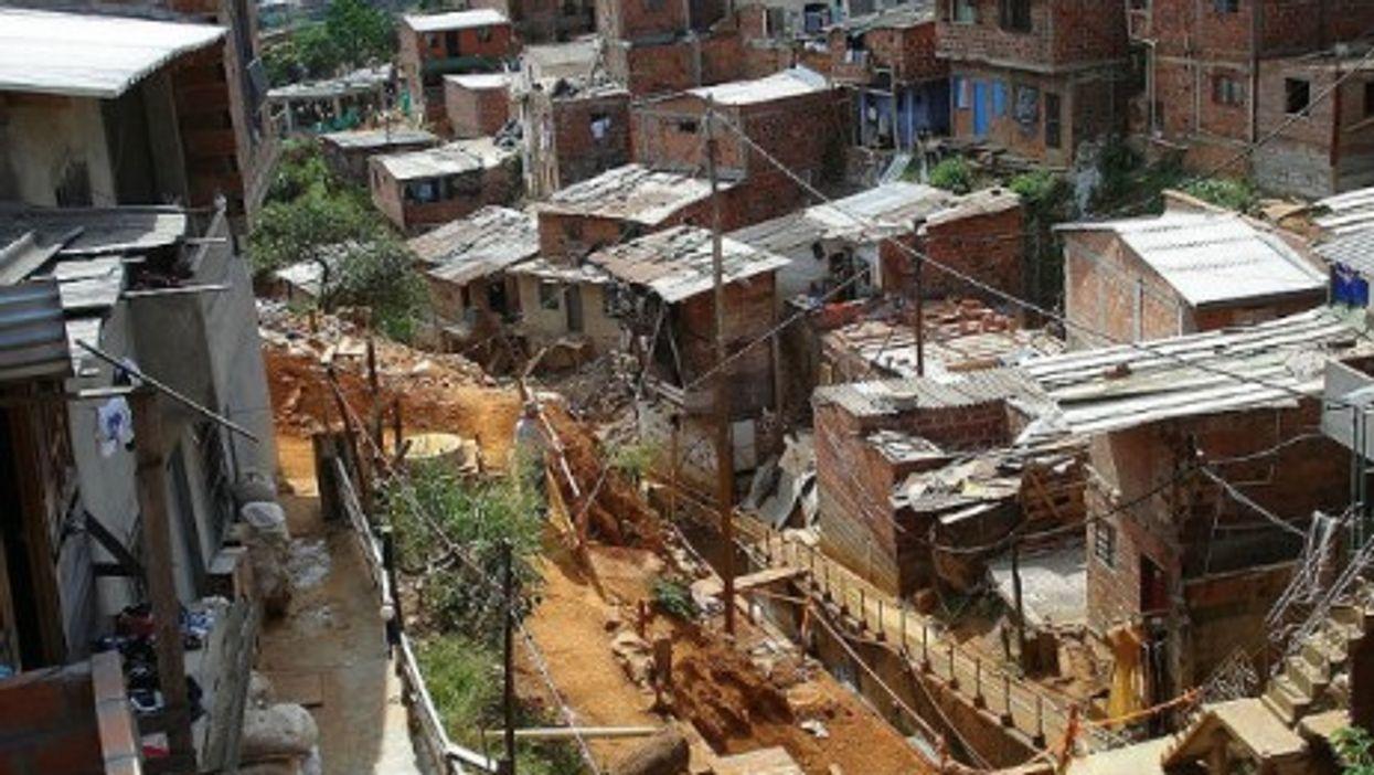 Shantytown houses in Medellin, Colombia