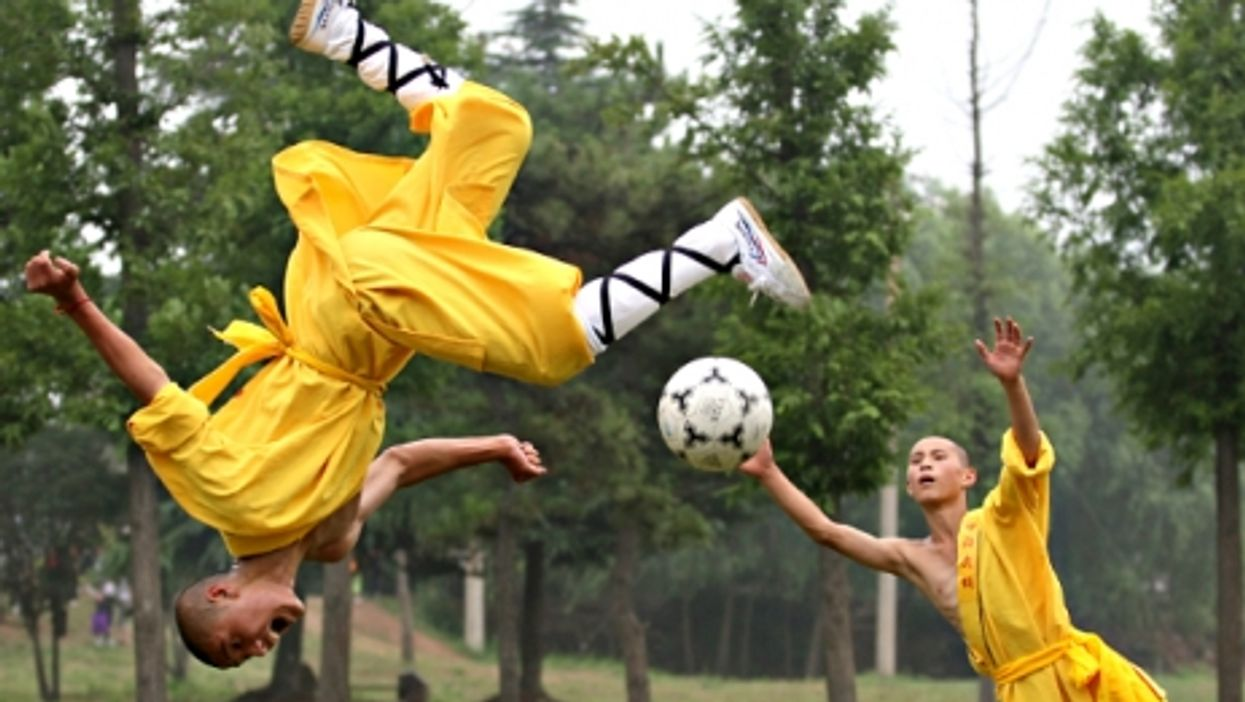 Shaolin students playing soccer at the Tagou Wushu School in Dengfeng