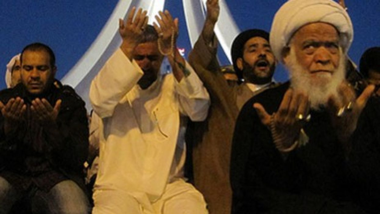 Shiite worshipers in Manama's Pearl Square last month before the government crackdown}