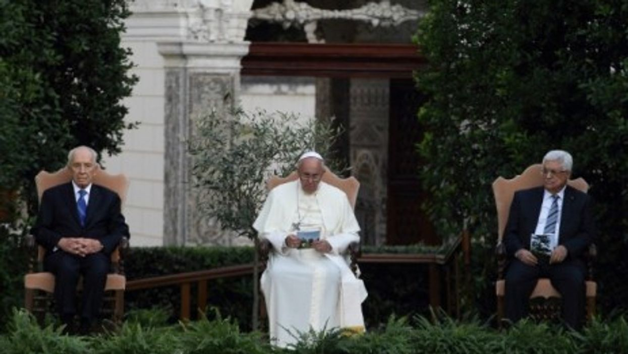 """Shimon Peres, Pope Francis and Mahmoud Abbas gathered Sunday for """"A Prayer For Peace"""" in the Vatican garden."""