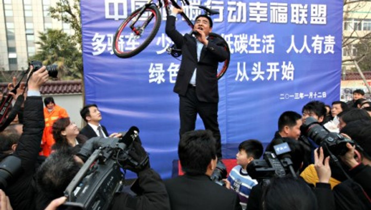 Showing Off: Chen Guangbiao during an environmental protection exhibition in Nanjing, eastern China.