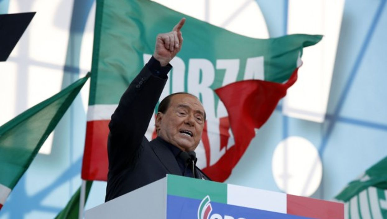Silvio Berlusconi at a demonstration in October 2019