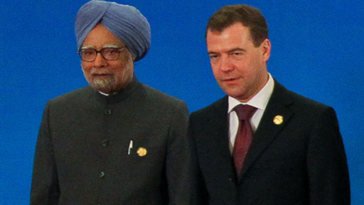 Singh and Medvedev at a recent gathering of BRICS leaders