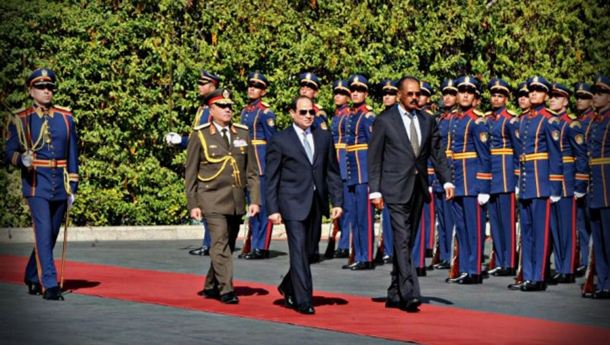 Sisi (center) in Cairo in January
