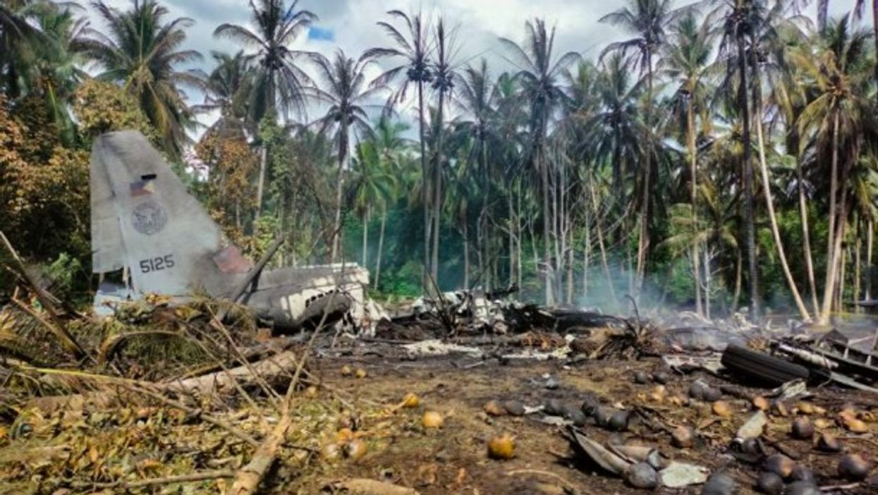 Site of Philipine Air Force airplane crash in southern Philippines, which killed 50 people