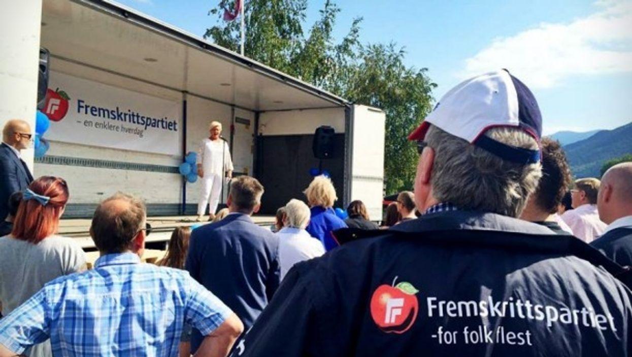 Siv Jensen at a FrP rally