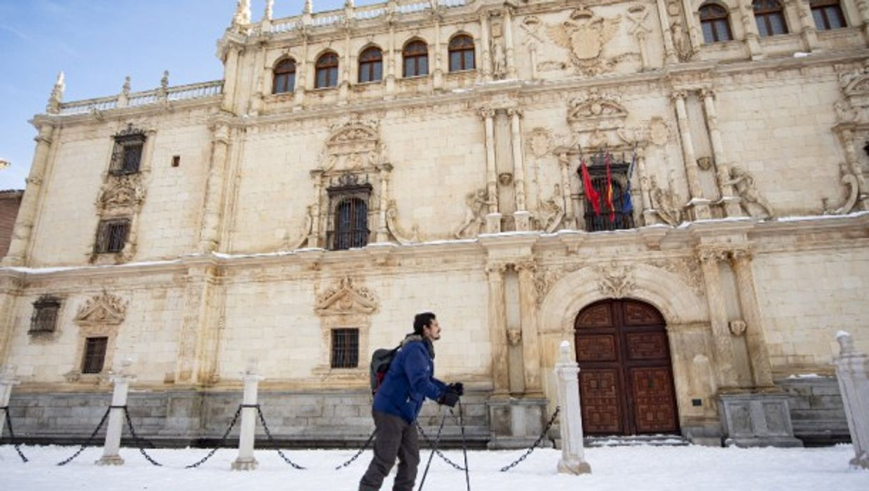 Skiing in central Madrid, Spain, after the country was hit by snow storm Filomena, which brought the heaviest snowfall in 50 years, killing four people and bringing central Spain to a standstill