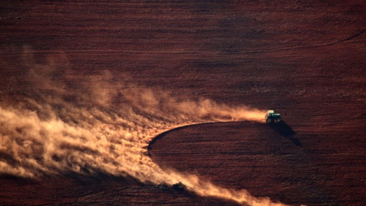 Soil being prepared for soy crop after deforestation in Brazil