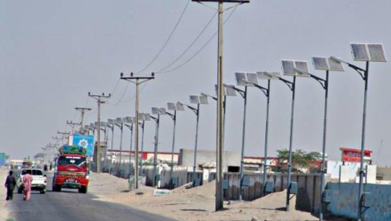Solar-powered street lights in Pakistan