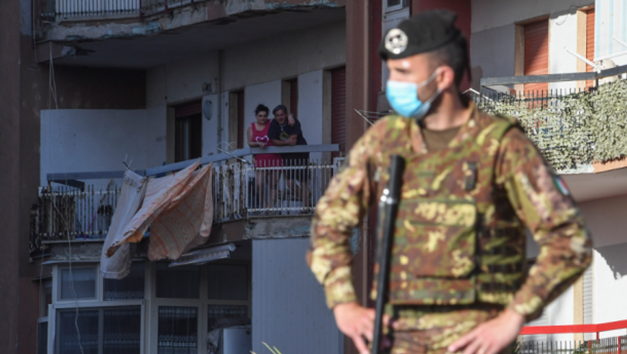 Soldier in Mondragone, southern Italy, on June 30.