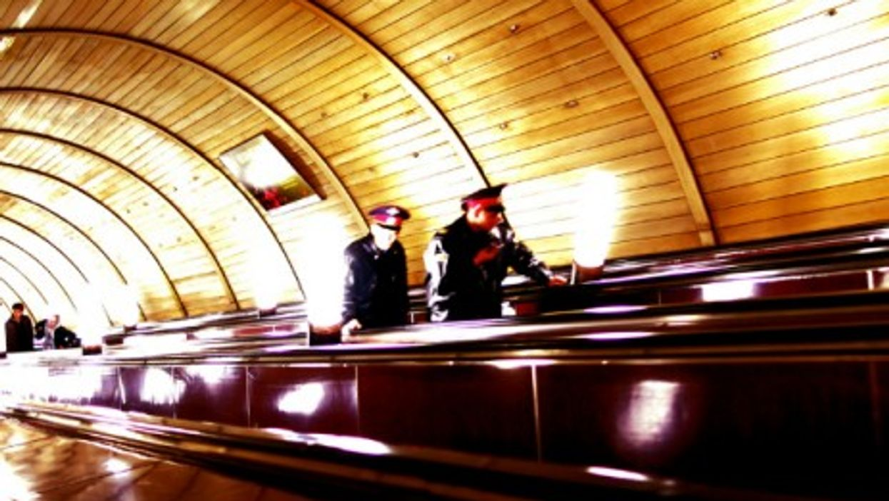 Soldiers in Moscow's metro