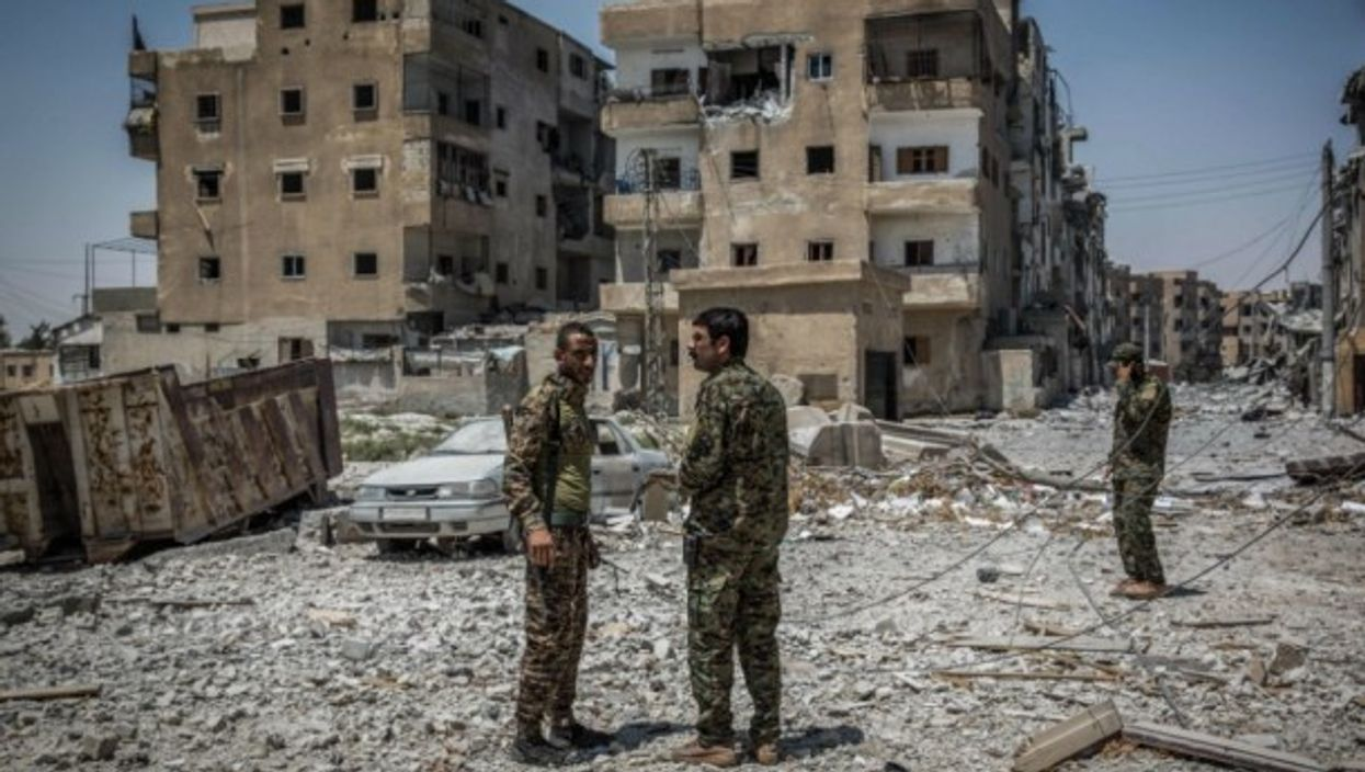 Soldiers of the Syrian Democratic Forces in Raqqa