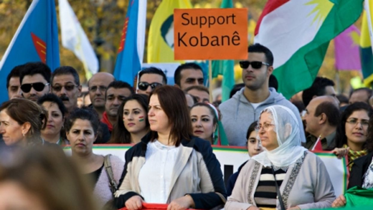 Solidarity with Kobane demonstration in The Hague, Netherlands