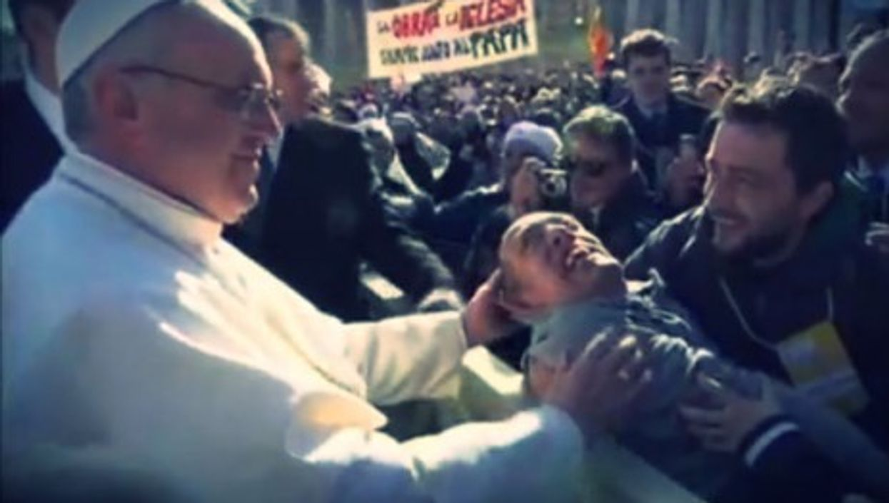 Some tenderness - Pope Francis at his inaugural mass Tuesday morning.