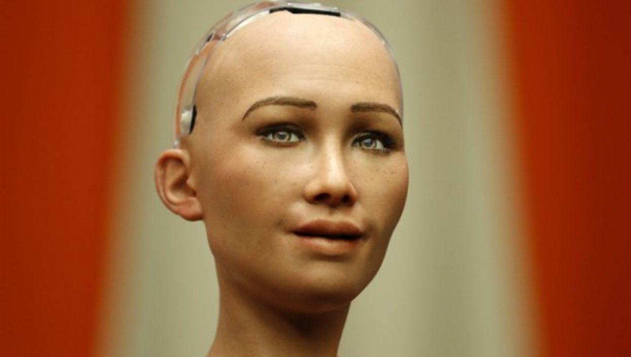 Sophia, a life-like humanoid robot.