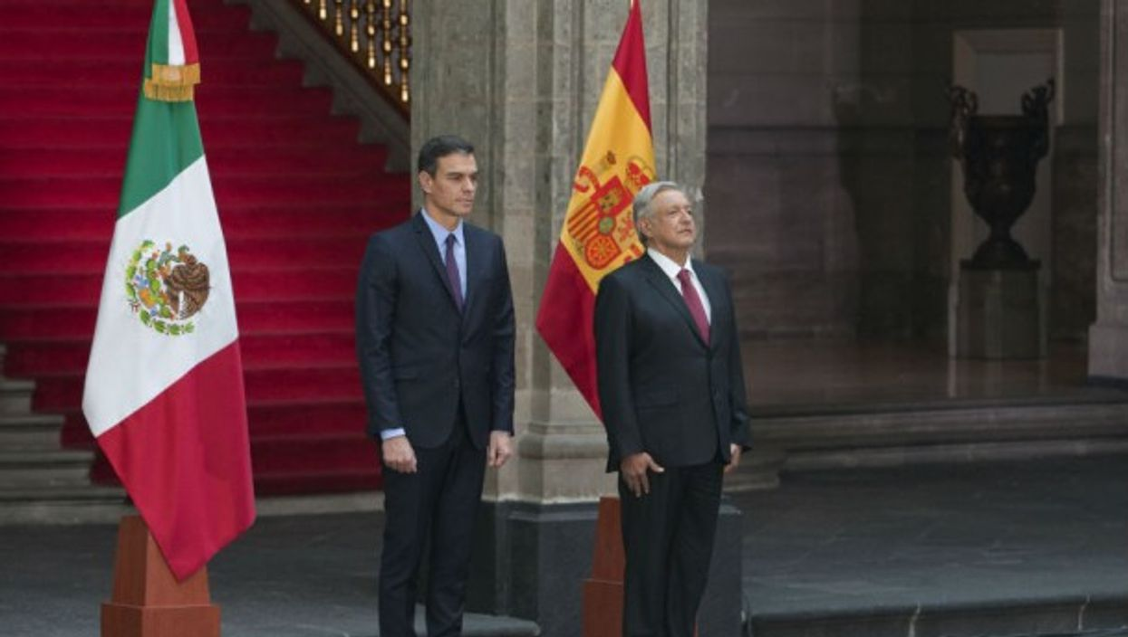 Spanish President Pedro Sanchez with Mexican President Manuel Lopez Obrador during a visit in Mexico
