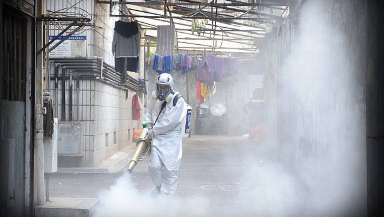 Spraying disinfectant in Hunan province, China