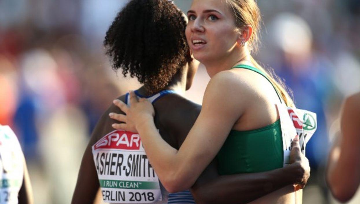 Sprinter Kristina Timanovskaya at the 2018 European Athletics Championships in Germany