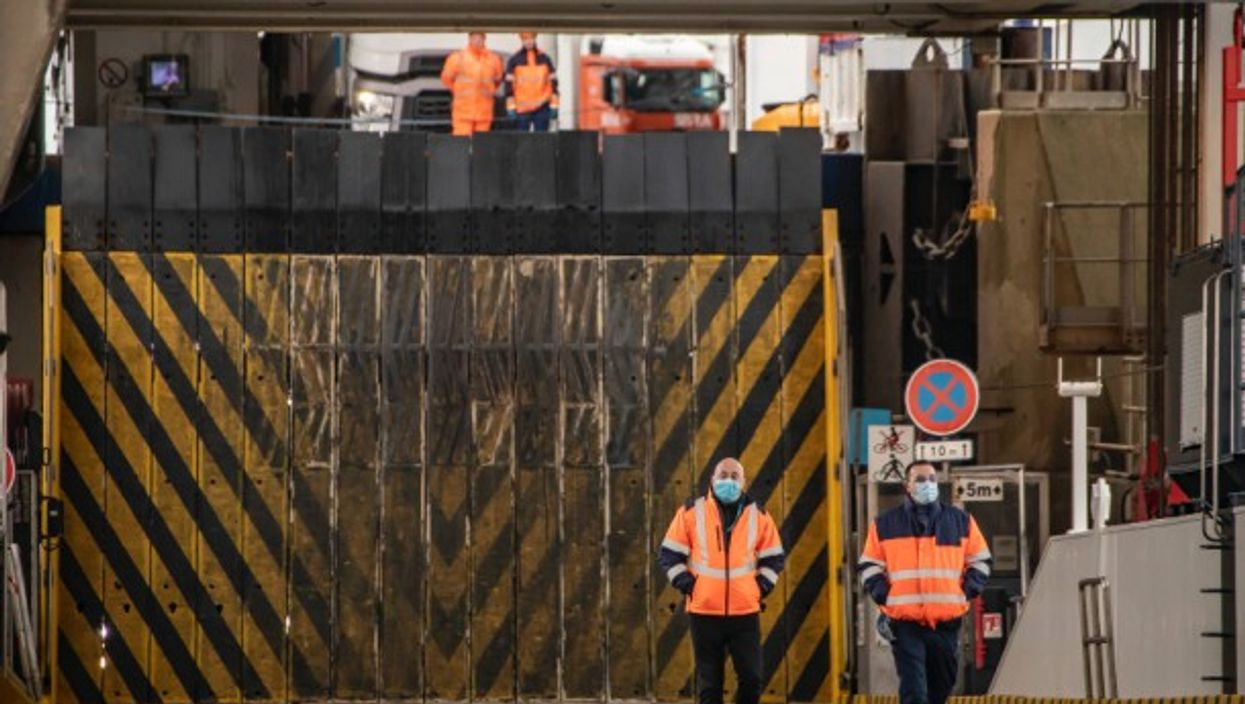Staff members working at the Calais Port in France