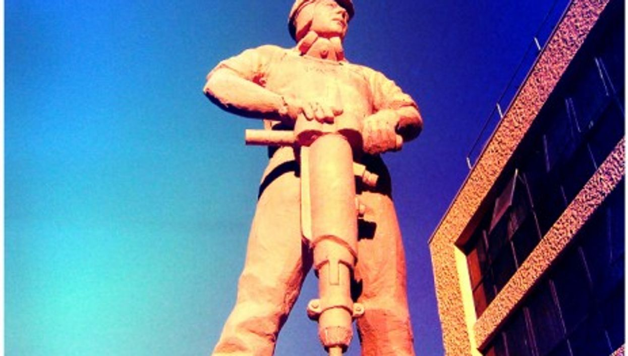 Statue of a worker in the mining town of Calama, Northern Chile