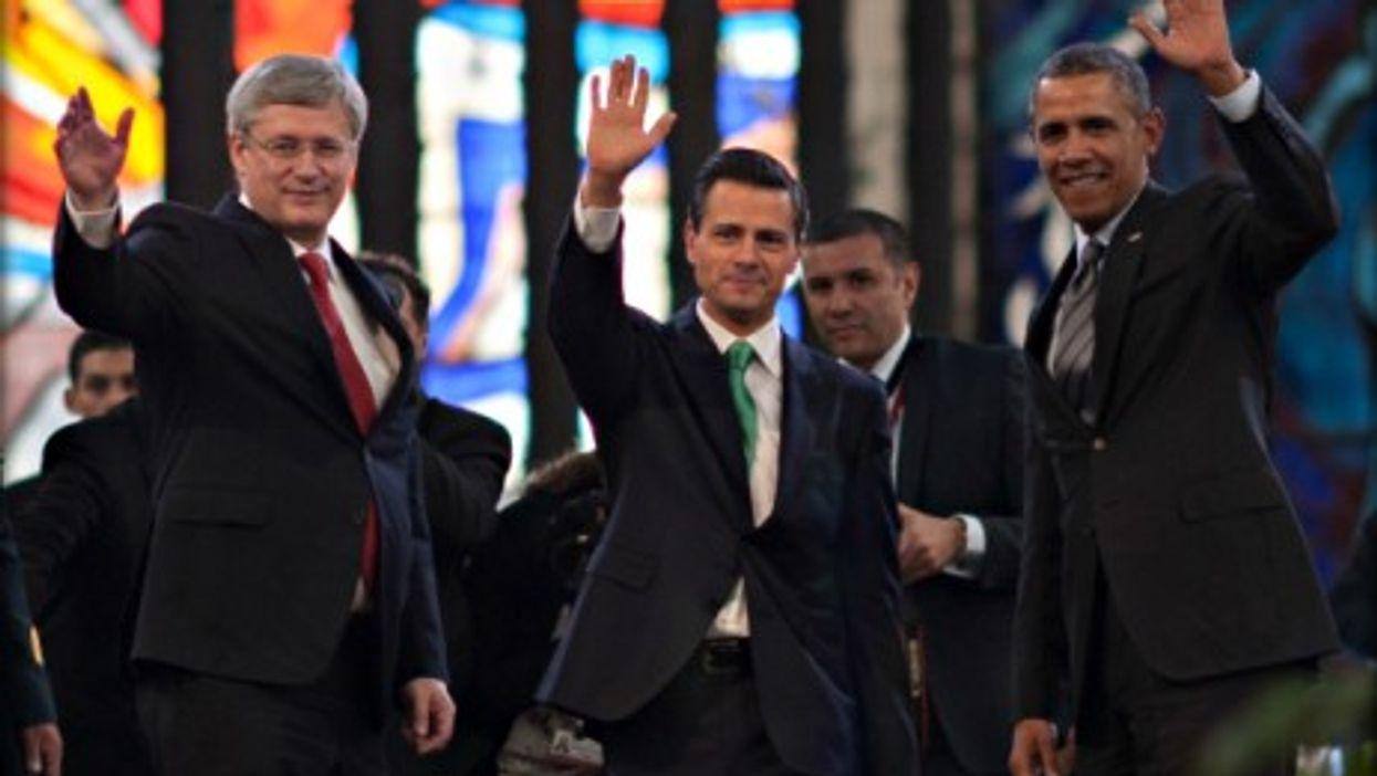 Stephen Harper, Enrique Pena Nieto and Barack Obama at the 7th North American Leaders Summit in Toluca, Mexico, on Feb. 19