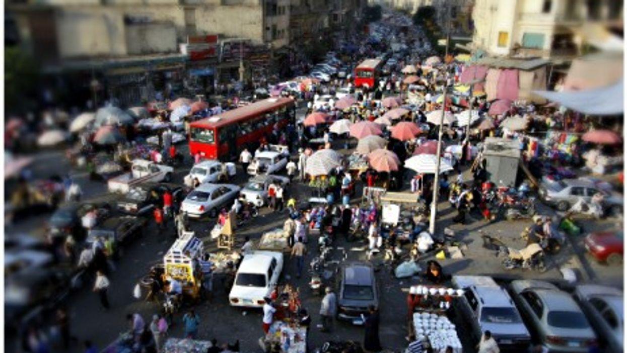 Street vendors causing traffic jams in Old Cairo.