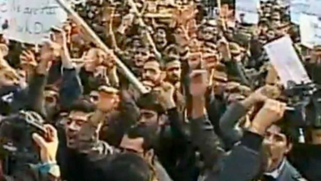 Student protestors rally outside the British Embassy in Tehran, Iran on Tuesday, November 29