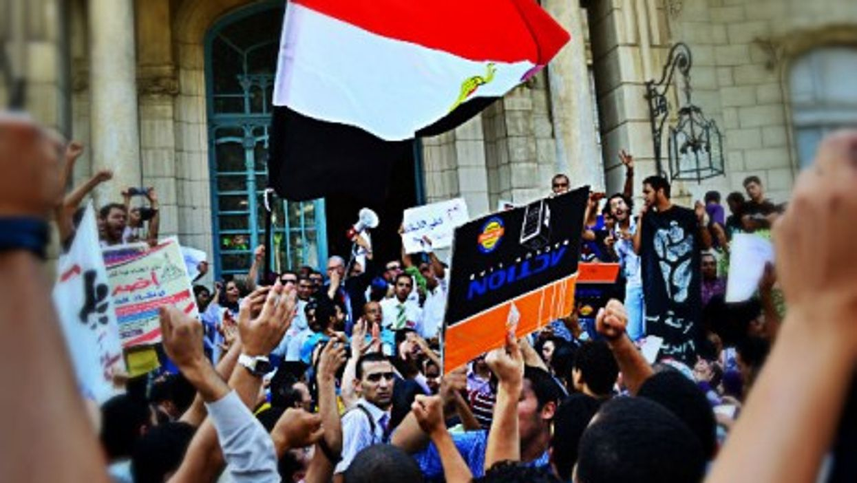 Students demonstrating for education reform at Ain Shams University