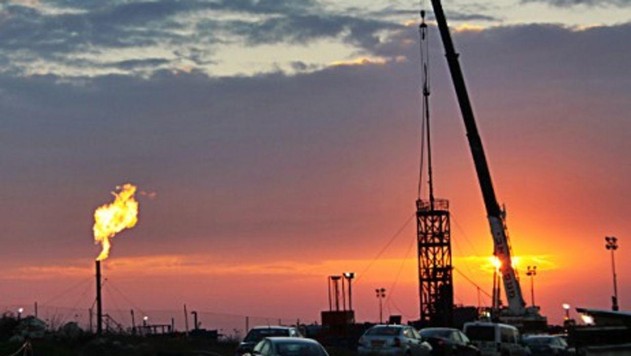Sunset on Israel's Meged oil field