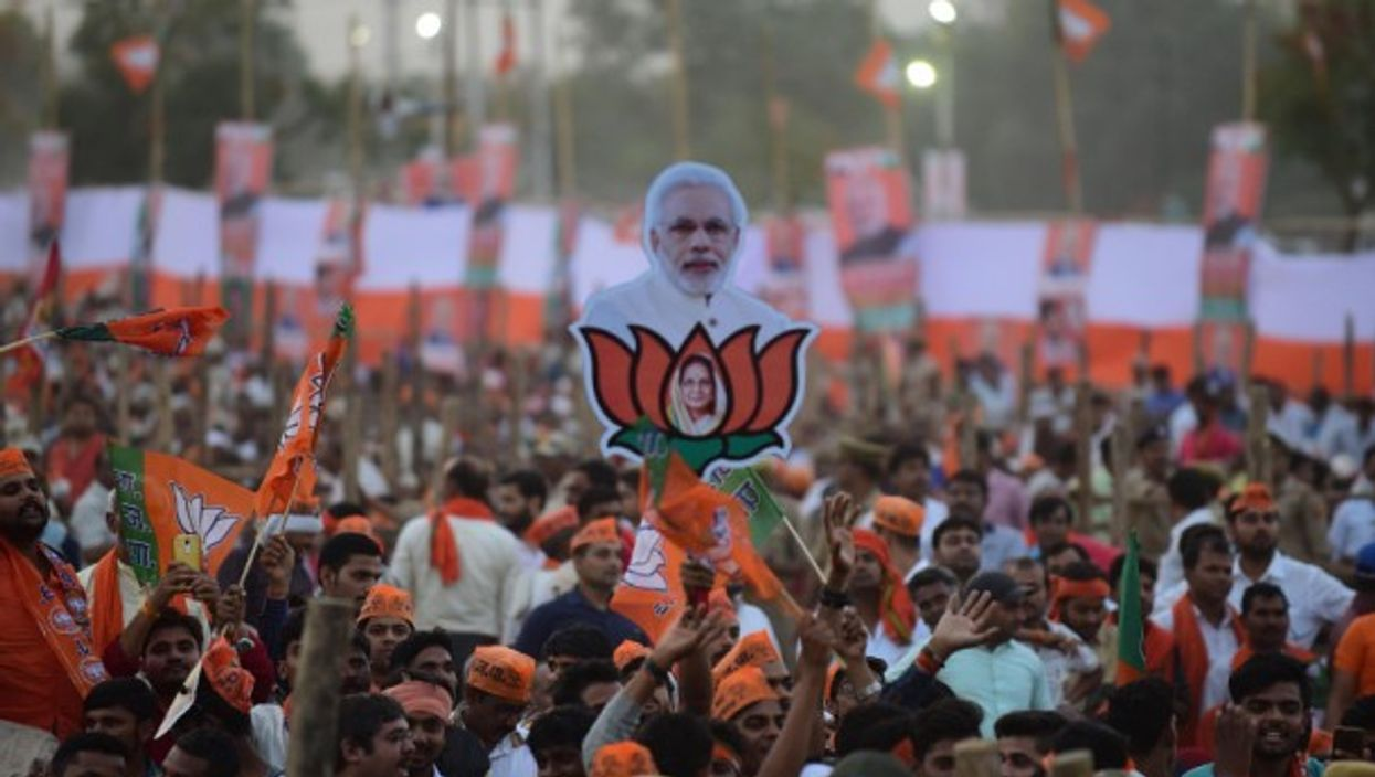 Supporters during a Modi election rally