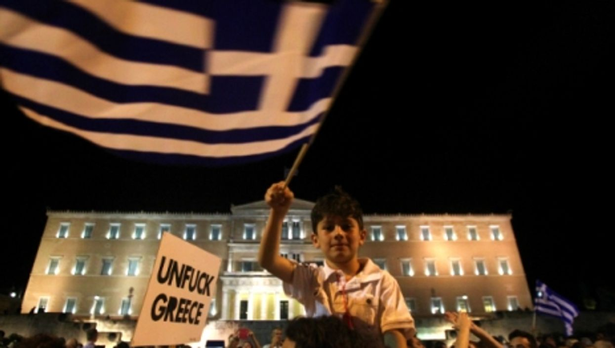 Supporters of 'No' in Athens' Syntagma square Sunday night.