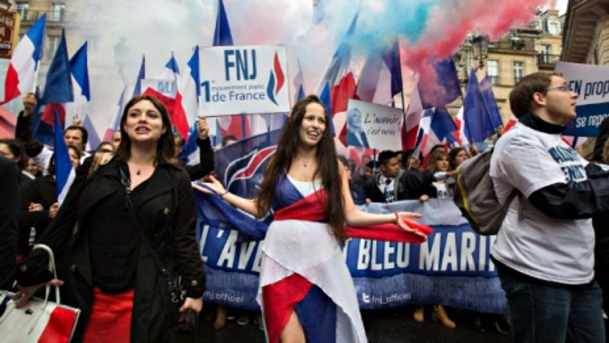 Supporters of the National Front in Paris on May 1