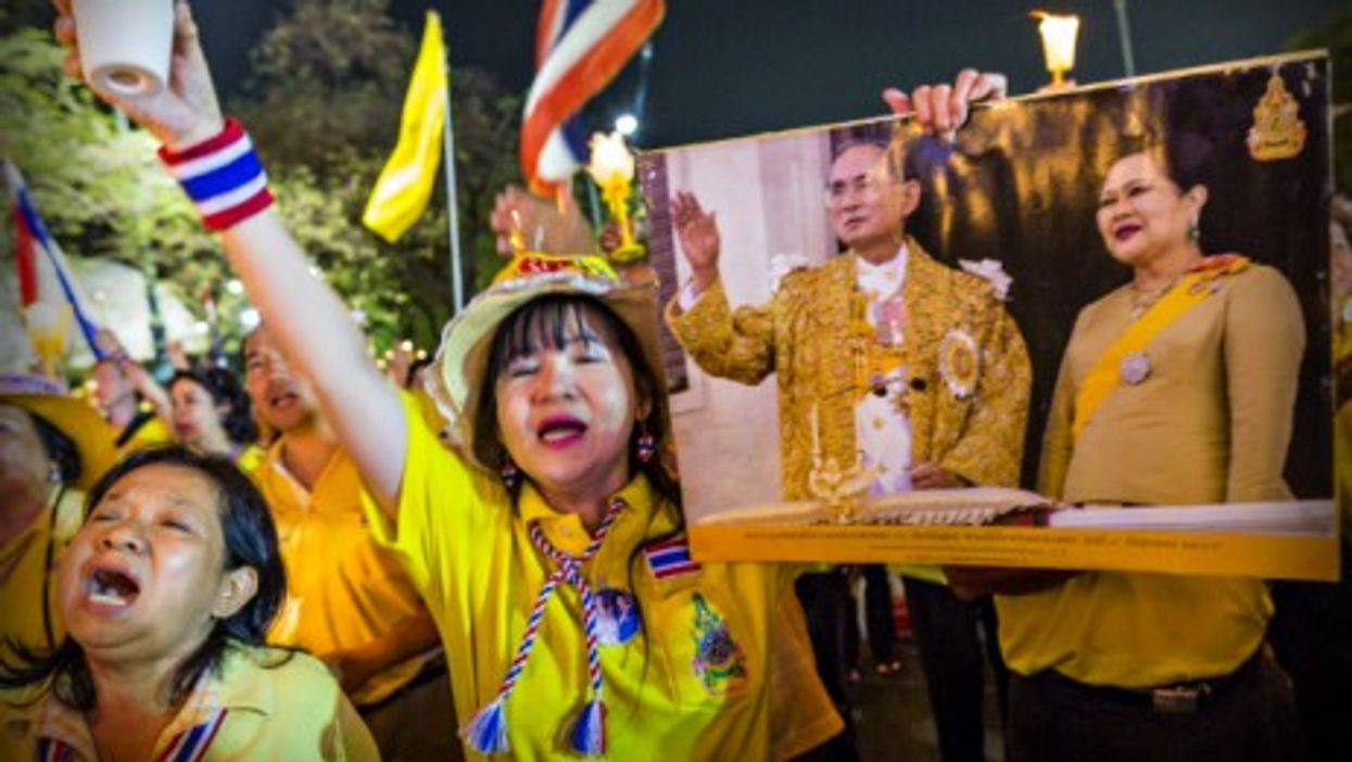 Supporters of the Thai monarchy celebrated the 64th anniversary of the coronation of King Bhumibol on May 5.
