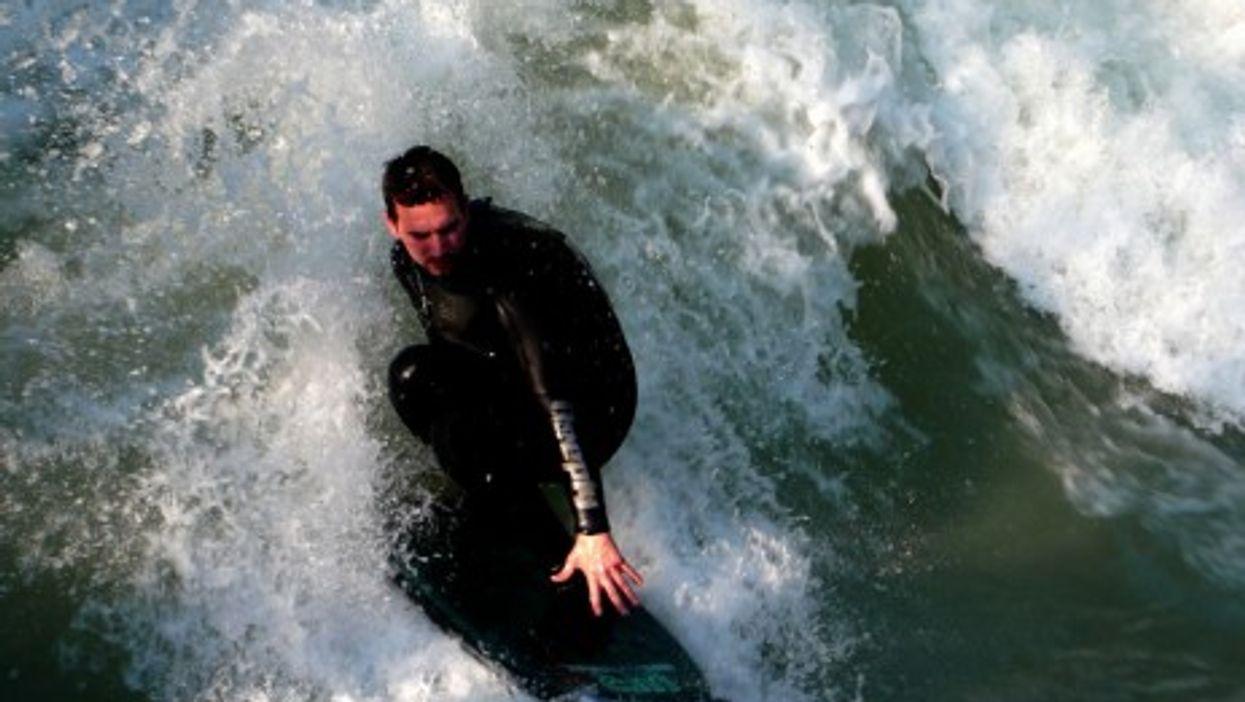 Surfer on Munich's Eisbach River