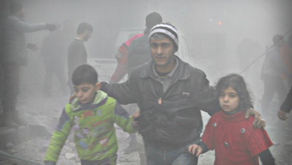 Survivors of Russian airstrikes in Aleppo earlier this year