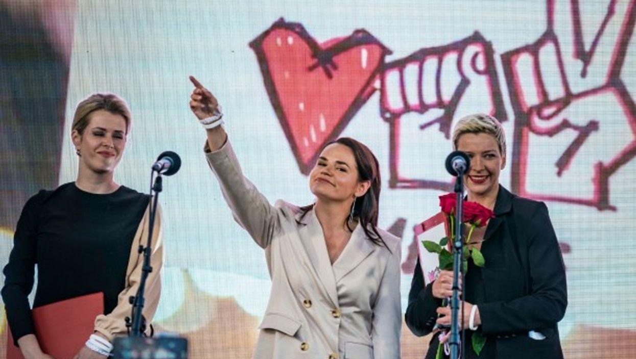 Svetlana Tsikhanovskaya, center, presidential candidate in the Belarus election
