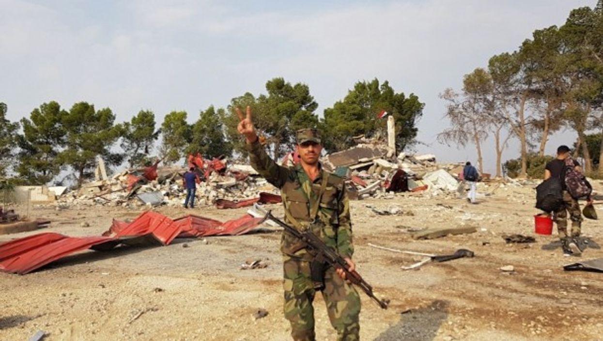 Syrian forces in Qasr Yalda, northeastern Syria.