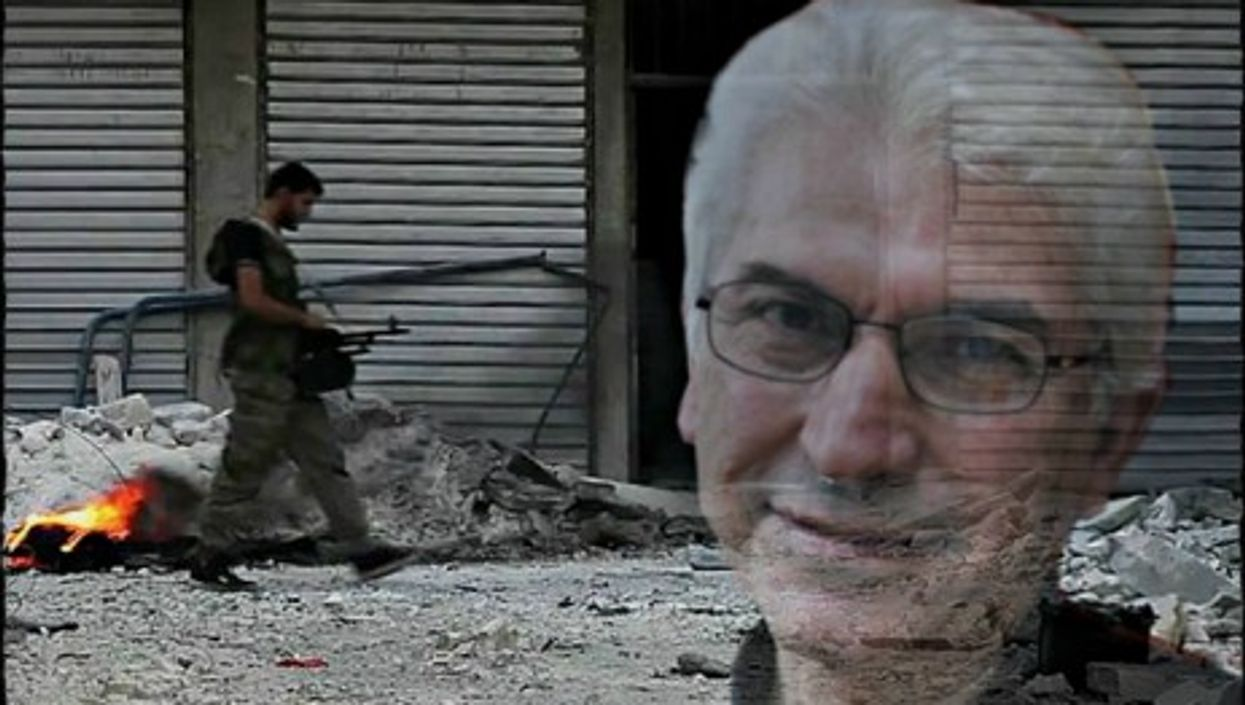 Syrian novelist Nihad Sirees and a Free Syrian Army soldier in Aleppo
