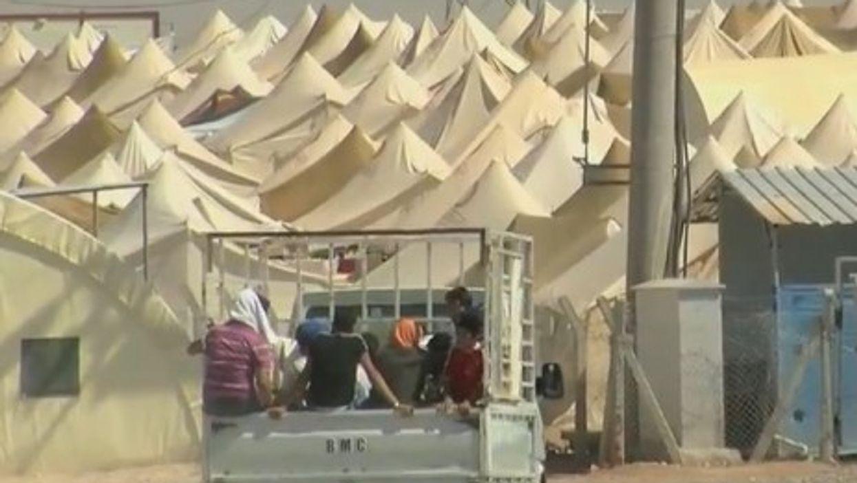 Syrian refugee camp on the Turkish border